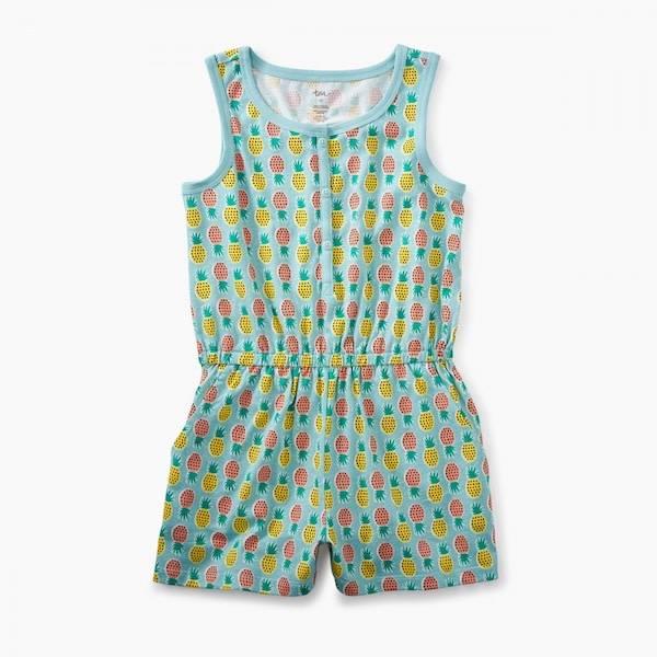 Tea Collection tea collection knit romper - pop color pineapples