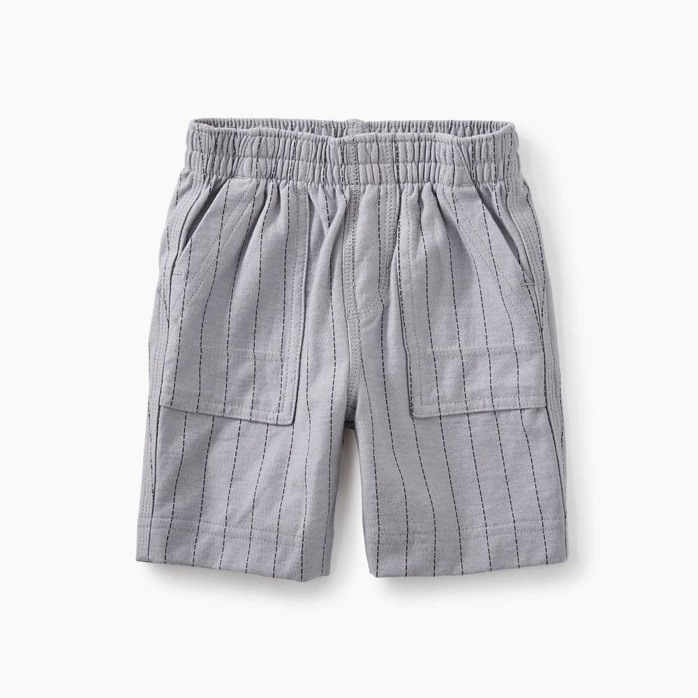 Tea Collection tea collection striped playwear baby shorts - storm grey