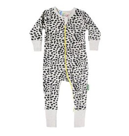 Parade parade organics signature zipper long sleeve romper - black brushes