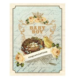 Yellow Bird Paper Greetings yellow bird paper greetings - vintage nest boy baby card