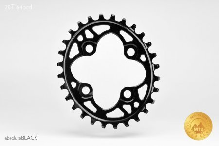 Absolute Black Chainring, Absolute Black Oval NW 64 BCD, 28T