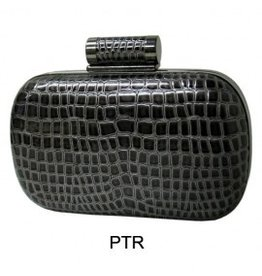 City Design Group Crocodile Synthetic Leather Clutch Pewter