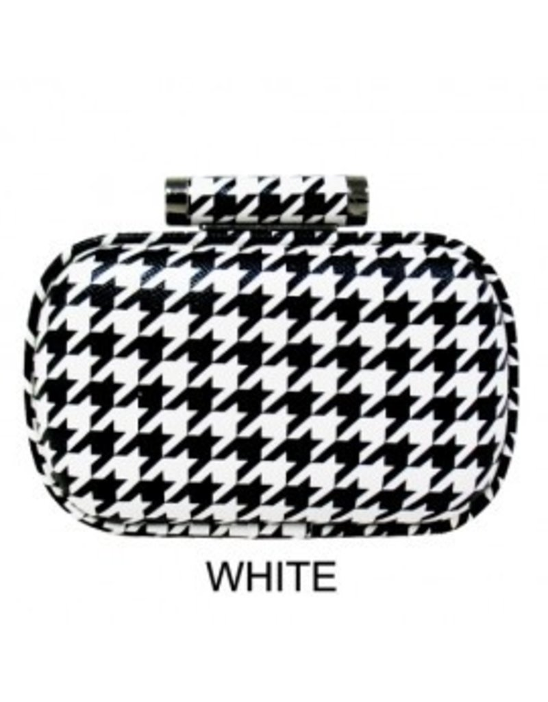 City Design Group Houndstooth Print Clutch Black/White