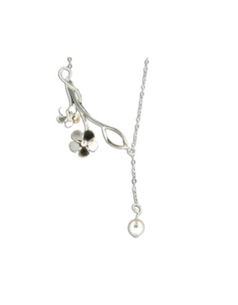 Mark Steel Flower Swarovski Pearl Pendant Sterling Silver