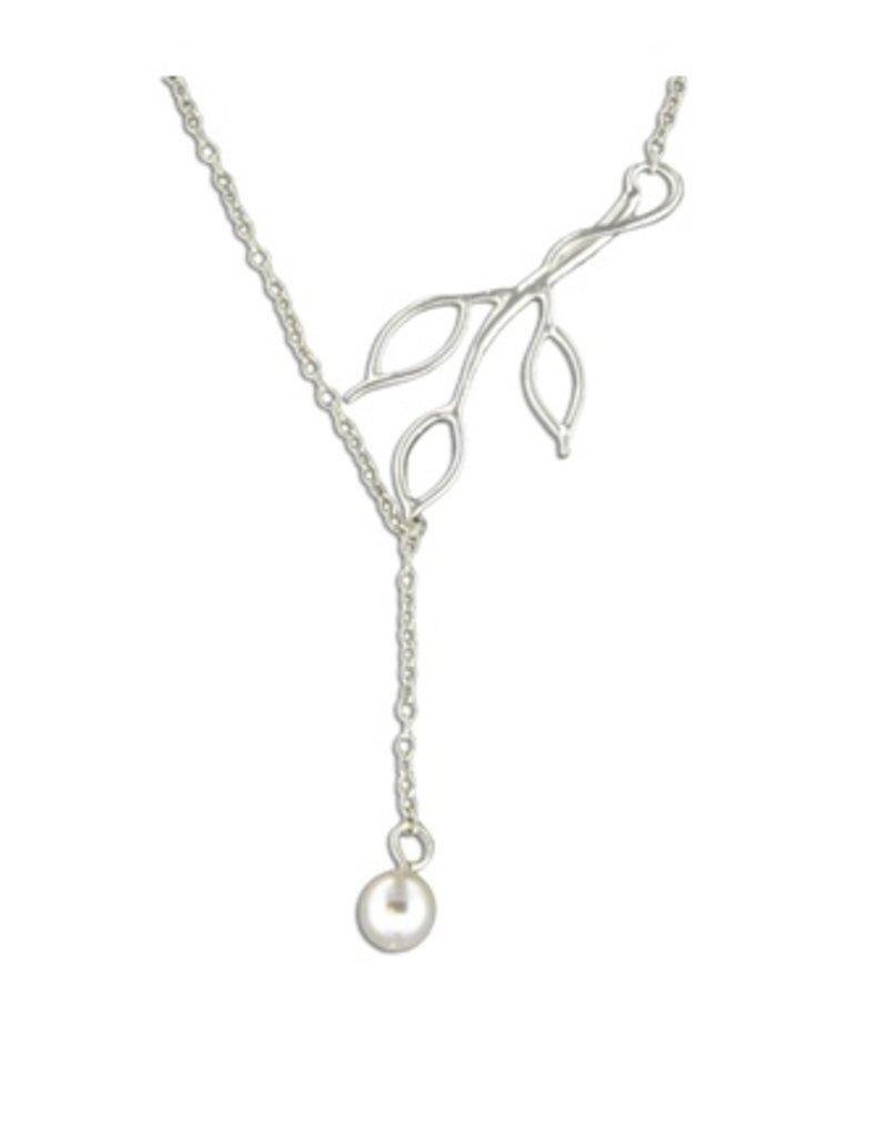 Mark Steel Triple Leaf Sterling Silver Swarovski Pearl Pendant Necklace