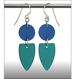 Austin Design Earrings Point Sea Style Zircon Deep Blue