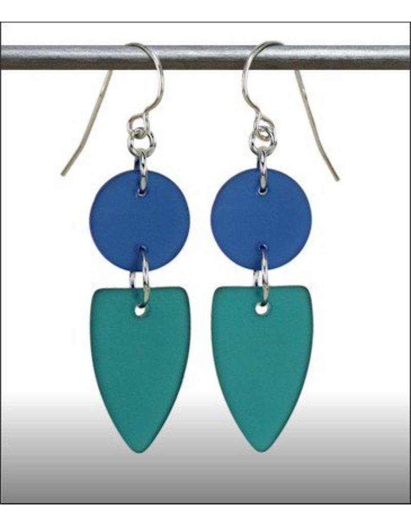 Austin Design Earrings Point Sea Style Zircon Deep Blue
