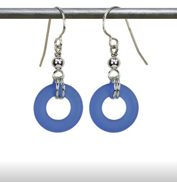 Austin Cake Earrings Donut Ocean Blue Matte