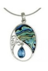 Vera + Wolf Blue Topaz Paua Shell Oval Sterling Silver Pendant Necklace