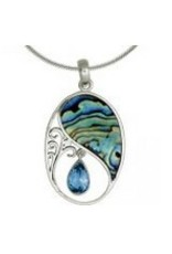 Vera Wolf Blue Topaz Paua Shell Oval Sterling Silver Pendant Necklace