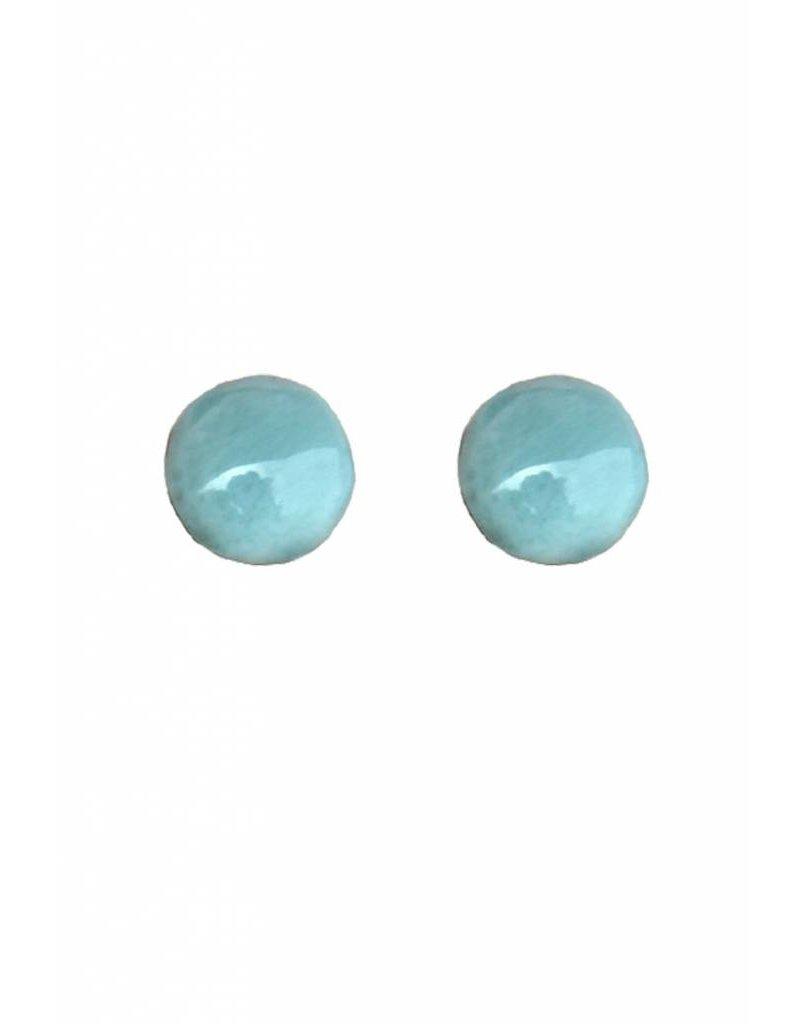 Esmeralda Lambert Larimar Sterling Silver Earrings Stud Circular