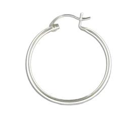 Mark Steel Hollow Hoop Earring 30mm Sterling Silver