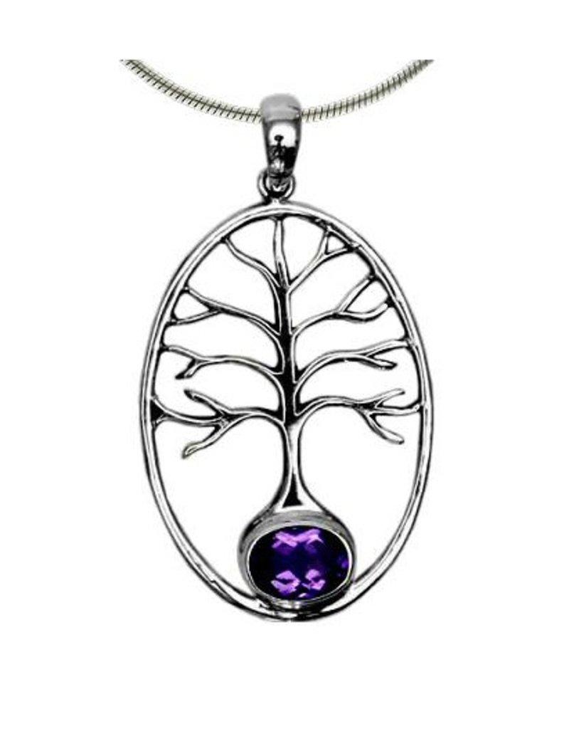 Vera Wolf Tree of Life w/ Gem Stone Accent Pendant