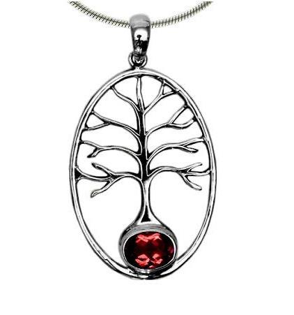 Vera + Wolf Tree of Life w/ Gem Stone Accent Pendant