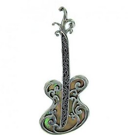 Vera + Wolf Sterling Silver Mother of Pearl Guitar Pendant Tan