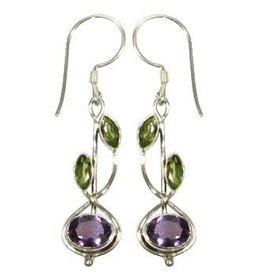 Vera + Wolf Sterling Silver Stem Drop Stone Earrings
