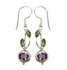Vera Wolf Sterling Silver Stem Drop Stone Earrings