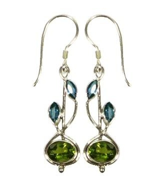 Vera + Wolf Sterling Silver Stem Drop Stone Earrings