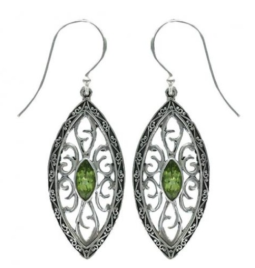 Vera + Wolf Sterling Silver Ornate Marquise Stone Earring