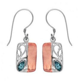 Vera Wolf Sterling Silver/Copper Stone Rectangular Earring