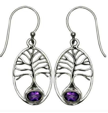 Vera + Wolf Sterling Silver Tree of Life Stone Earring