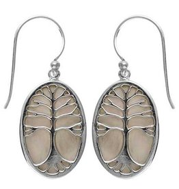 Vera Wolf Sterling Silver Mother of Pearl Tree of Life Earring