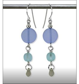 Austin Design Sun Stone Sand Etched Glass Earrings