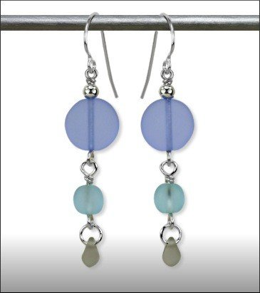 Austin Cake Sun Stone Sand Etched Glass Earrings