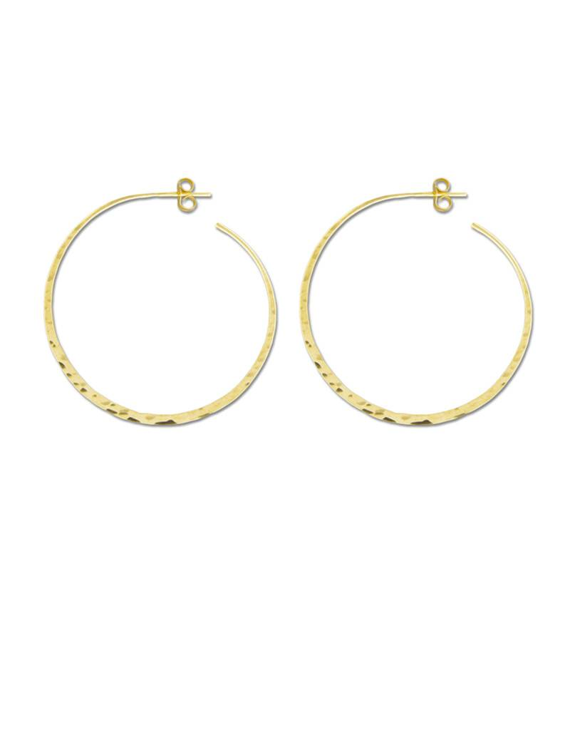 Mark Steel Post Hoop Hammered 48mm Gold Filled