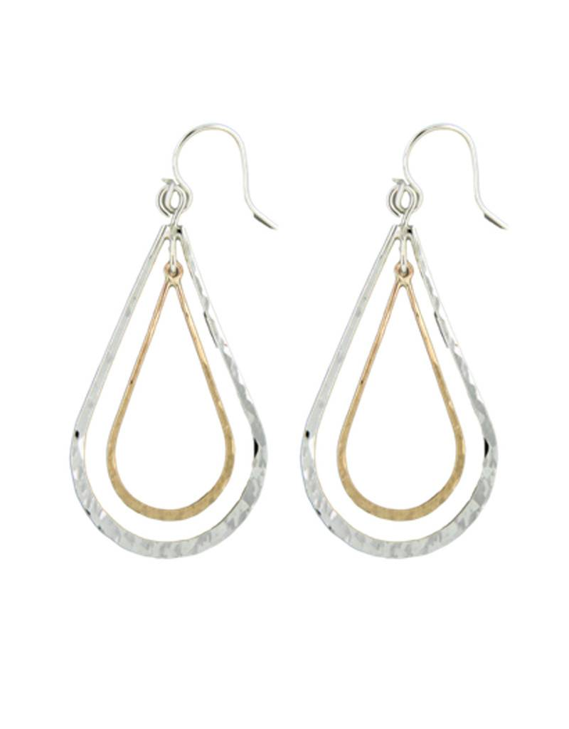 Mark Steel Double Teardrop Earring Mix Metal