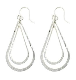 Mark Steel Double Teardrop Earring Sterling Silver