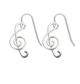 Mark Steel Music Note Earring Sterling Silver