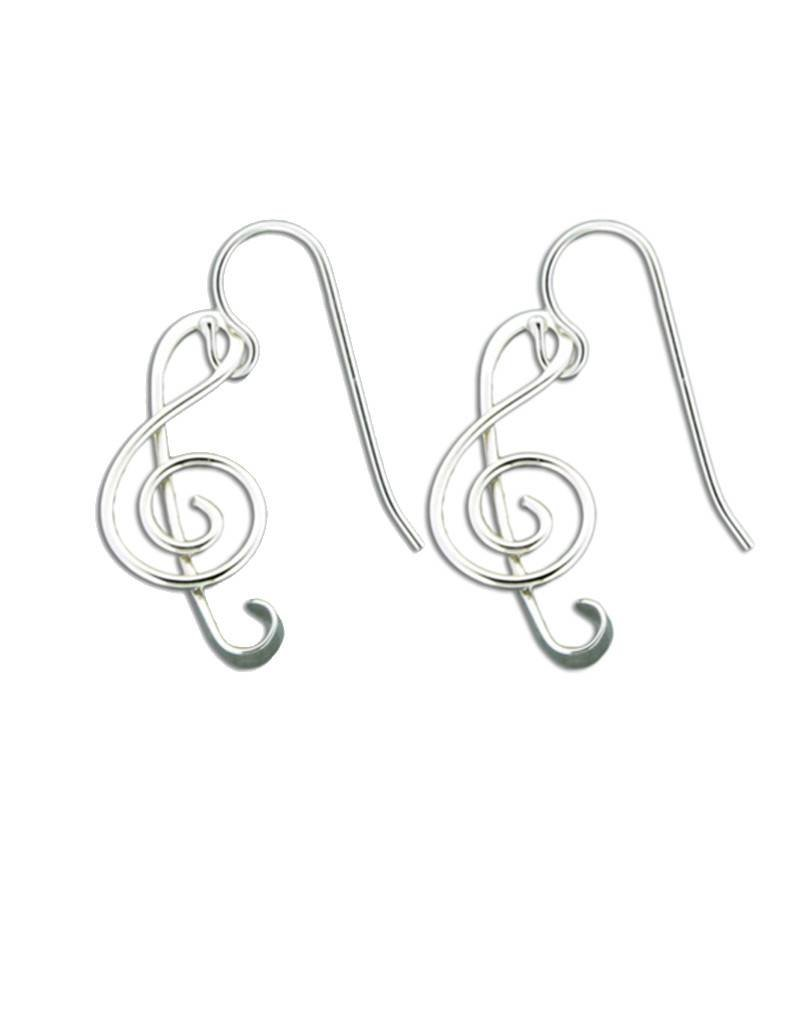 Mark Steel Music Note Earring Sterling Silver