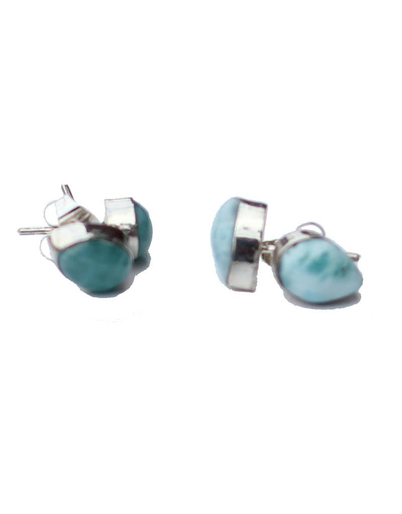 Esmeralda Lambert Larimar Sterling Silver Earrings Stud Tear Drop
