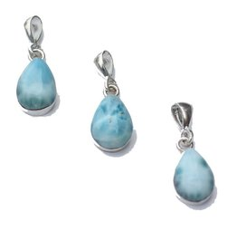 Esmeralda Lambert Larimar Sterling Silver Pendant Necklace Tear Drop