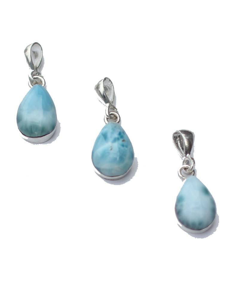 Esmeralda Lambert Larimar Sterling Silver Pendant Necklace Tear Drop
