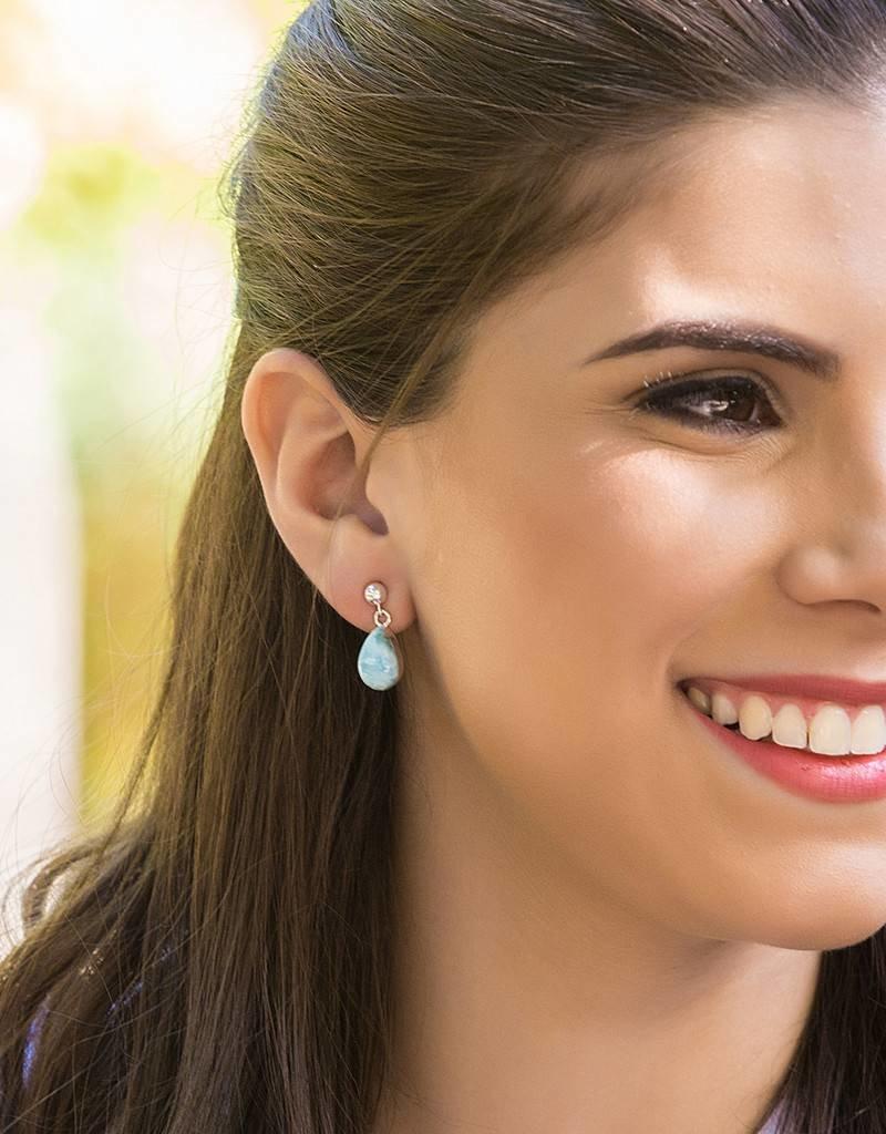 Esmeralda Lambert Larimar Sterling Silver Earrings Tear Drop