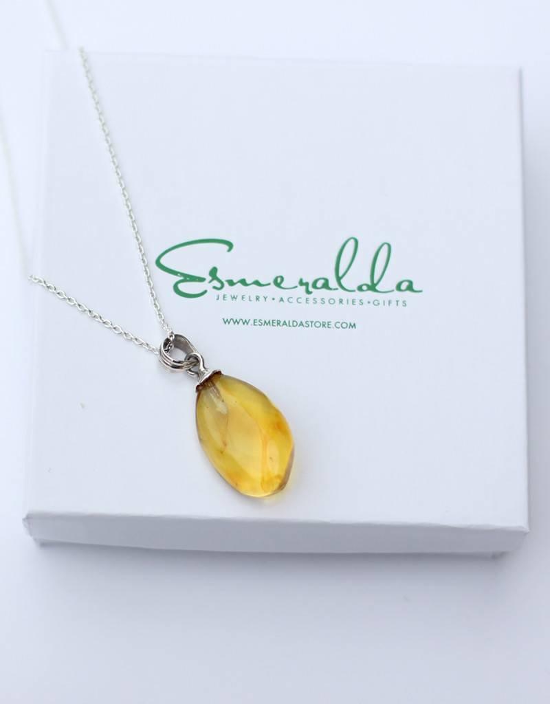 Esmeralda Lambert Amber Sterling Silver Pendant Necklace Drop Large