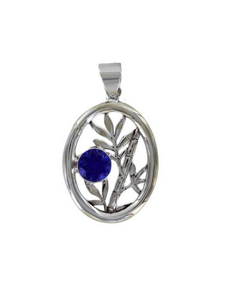 Vera Wolf Sterling Silver Bamboo Oval Pendant