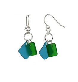 Austin Design Duo Matte Glass Earrings Deep Green