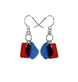 Austin Design Earrings Duo Deep Blue Red