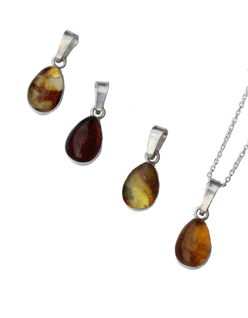 Esmeralda Lambert Amber Sterling Silver Pendant Necklace Tear Drop Small