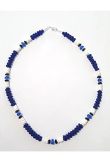 Austin Design Puka Shell Cobalt Blue Glass Pebbles Necklace