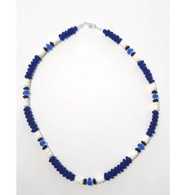 Austin Design Puka Shell Cobalt Blue Glass Pebbles Necklace