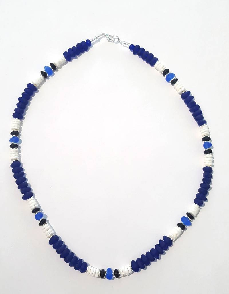 Austin Cake Puka Shell Cobalt Blue Glass Pebbles Necklace