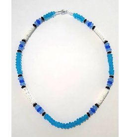 Austin Design Puka Shell Aqua Glass Pebbles Necklace