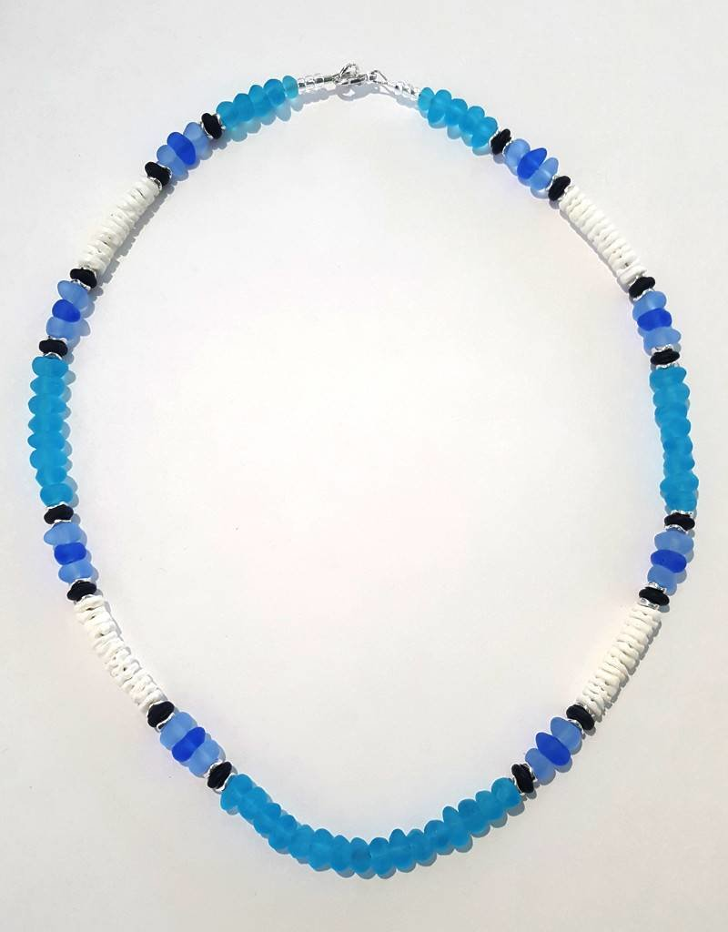 Austin Design Puka Shell Aqua Glass Pebbles Necklace