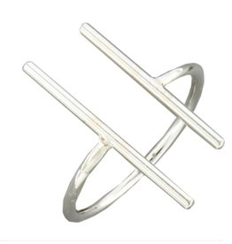 Mark Steel Double Bar Sterling Silver Ring 144