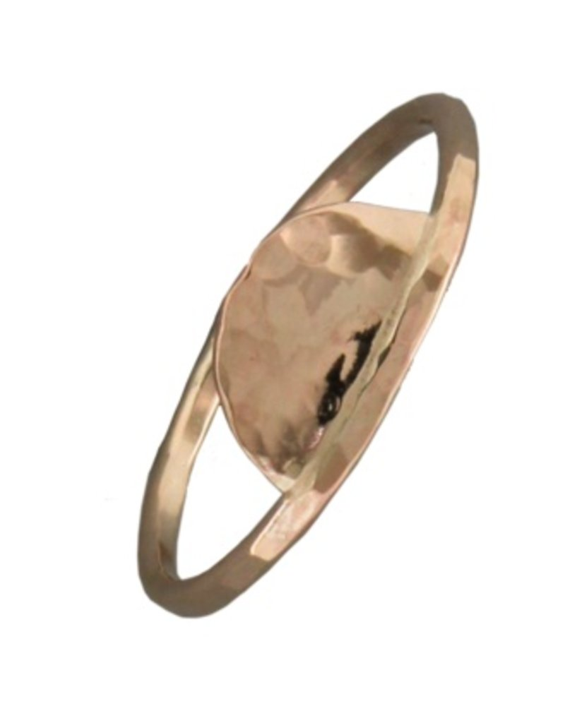Mark Steel Hammered Half Circle Gold Filled Ring 149
