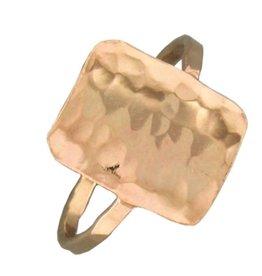 Mark Steel Hammered Rectangle Gold Filled Ring 150